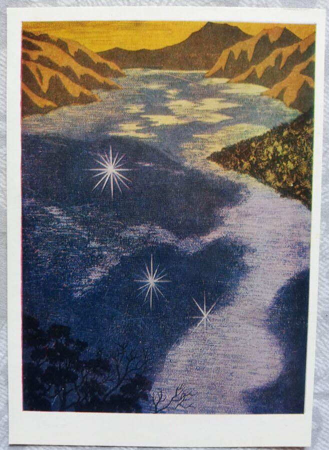 """Fumio Kitaoka 1974. gads """"Kalnu ezers; 1973"""" mākslas pastkarte 10,5x15 cm"""