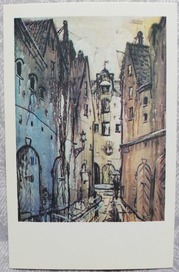 """Jāņa Brektes """"Vecpilsētas iela"""" 1981. gada mākslas atklātne 9x14 cm"""