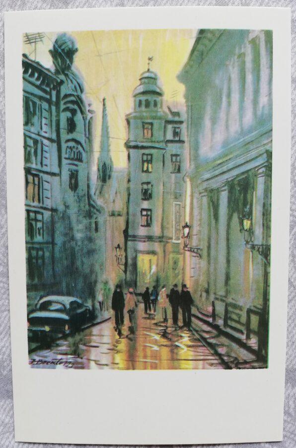 """Jānis Brekte """"Rīga vakarā"""" 1981. gada mākslas pastkarte 9x14 cm"""