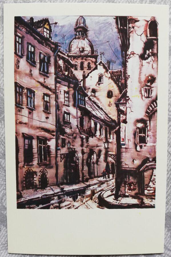 """Jāņa Brektes """"Rozena iela"""" 1981. gada mākslas atklātne 9x14 cm"""