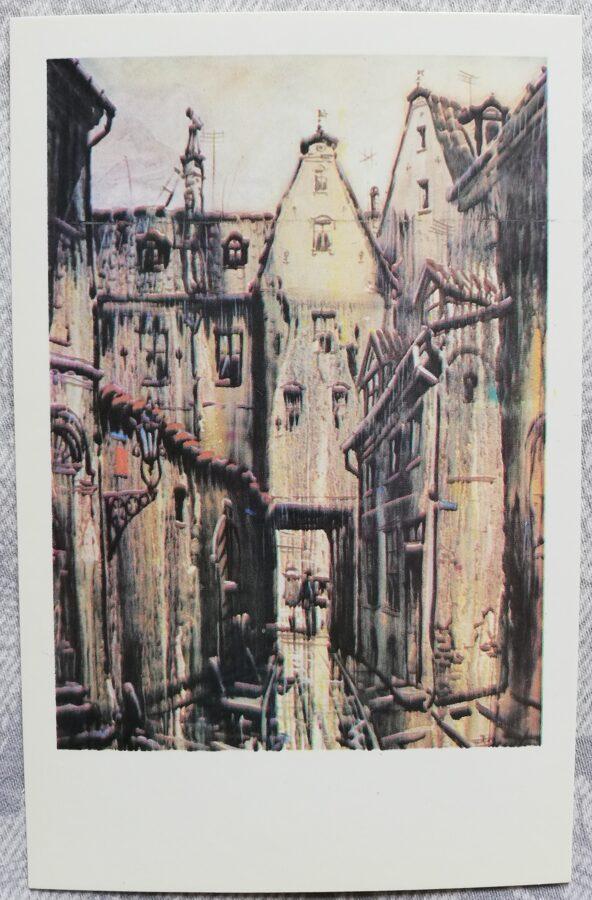 """Jānis Brekte """"Lietainā diena vecpilsētā"""" 1981. gada mākslas pastkarte 9x14 cm"""