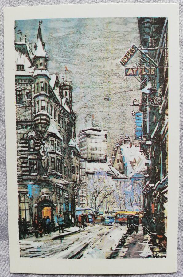 """Jānis Brekte """"Ziemas diena Vecrīgā"""" 1981. gada mākslas pastkarte 9x14 cm"""