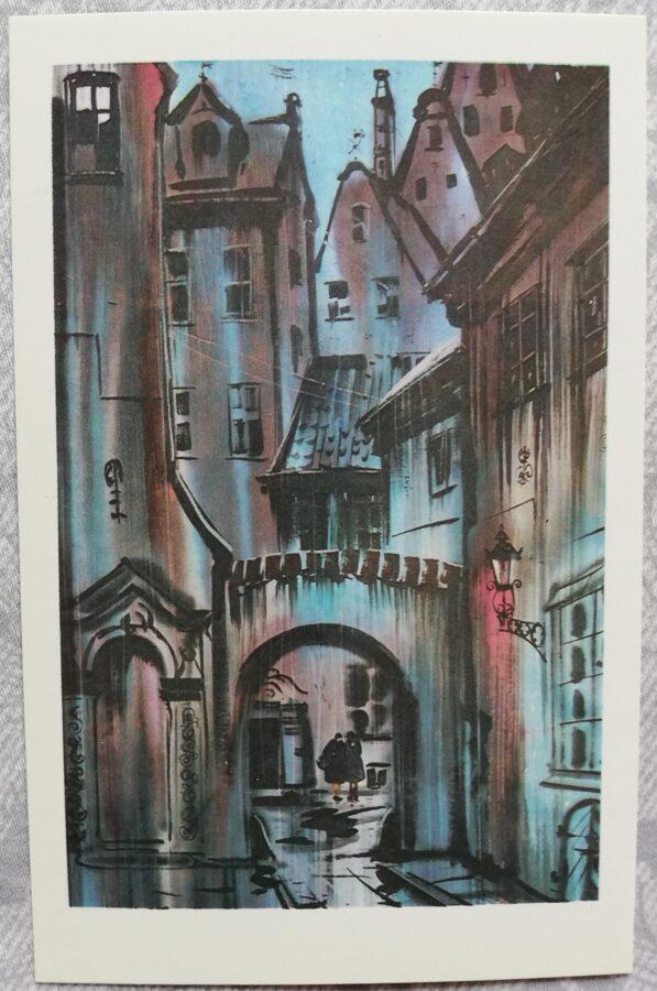 """Jānis Brekte """"Zilā noskaņa"""" 1981. gada mākslas pastkarte 9x14 cm"""