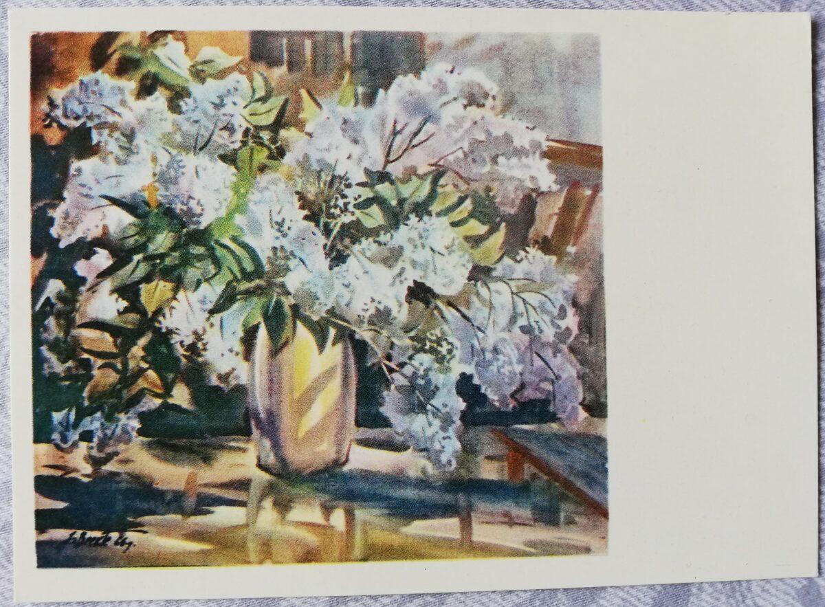 """Jānis Brekte """"Ceriņi"""" 1968. gada mākslas pastkarte 15x10,5 cm"""