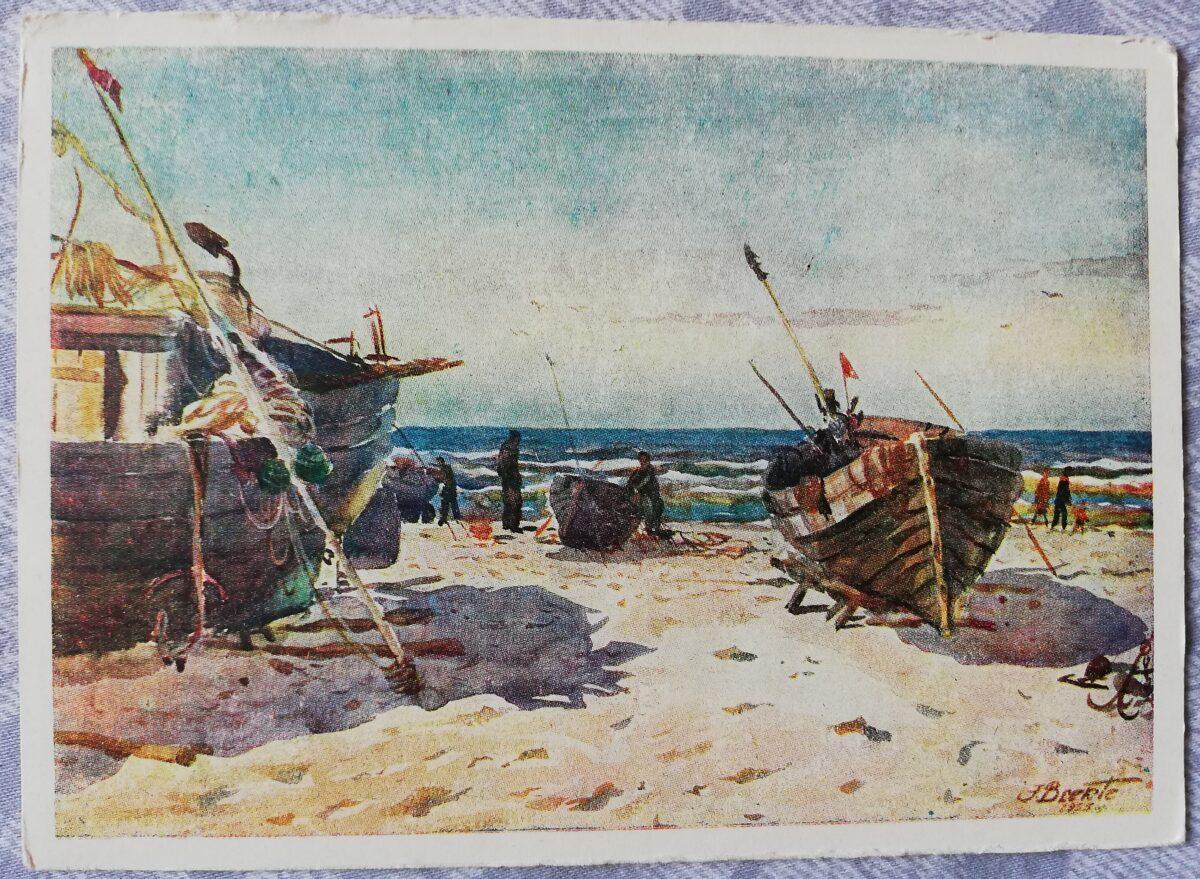"""Jānis Brekte """"Rīgas jūrmala"""" 1955. gada mākslas atklātne 15x10,5 cm"""