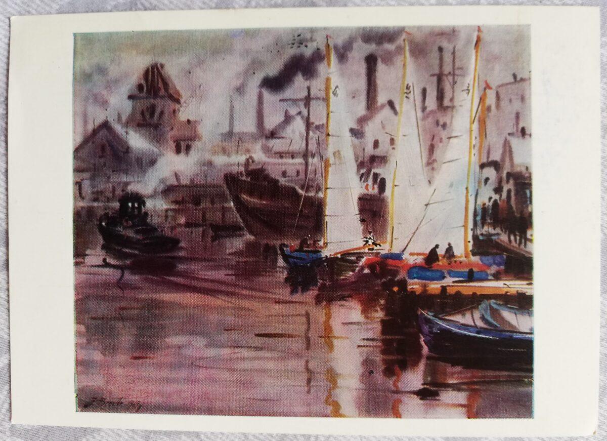 """Jāņa Brektes """"Andrejostas osta"""" 1971. gada mākslas atklātne 15x10,5 cm"""
