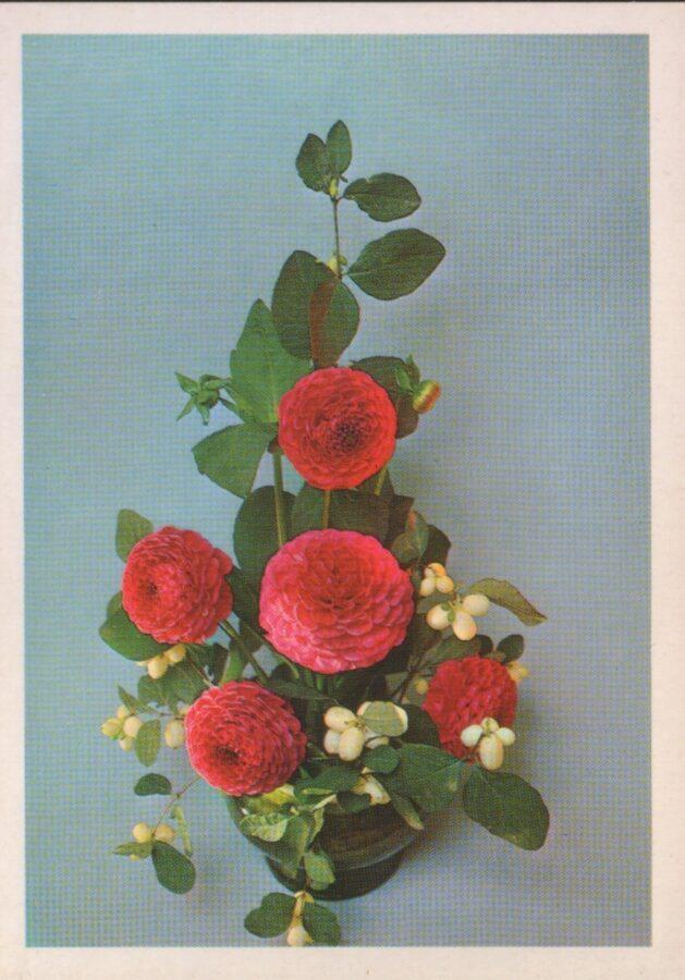 """Apsveikuma pastkarte """"Ziedi"""" 1983. gada Sarkanas dālijas """"Planeta"""" 10,5x15 cm"""