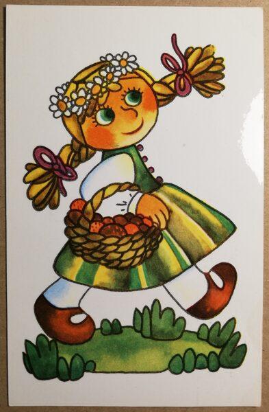Latvian folk costumes. Children's. 1979 postcard 9x14 cm Drawing by M. Brenze.