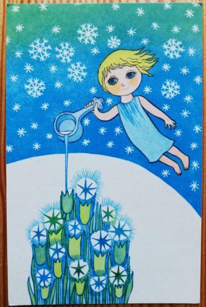 """Jaungada pastkarte """"Laimīgo Jauno gadu!"""" 9 * 14 cm 1980. gada PSRS perioda suvenīrs."""