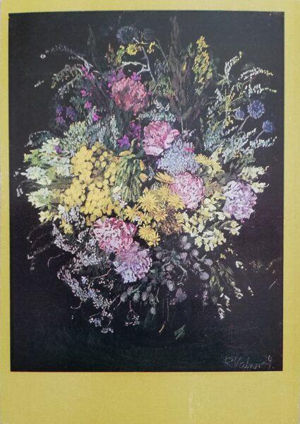 """Rita Valnere """"Ziedi"""" 1981. gada mākslas pastkarte 10,5x15 cm"""