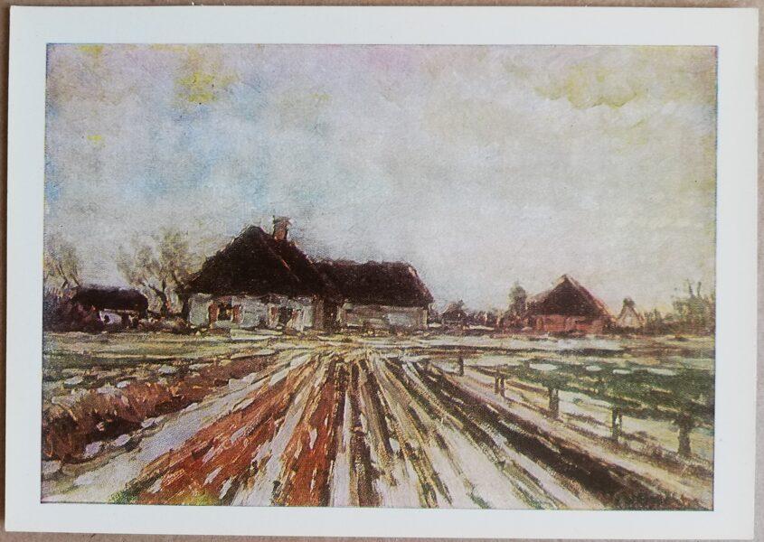 """Vilhelms Purvītis """"Pirmais sniegs"""" 1972. gada mākslas pastkarte 15 * 10,5 cm"""