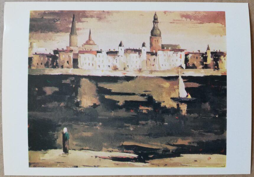 "Valdis Kalnroze ""In the Evening"" art postcard 1986 15x10,5 cm"