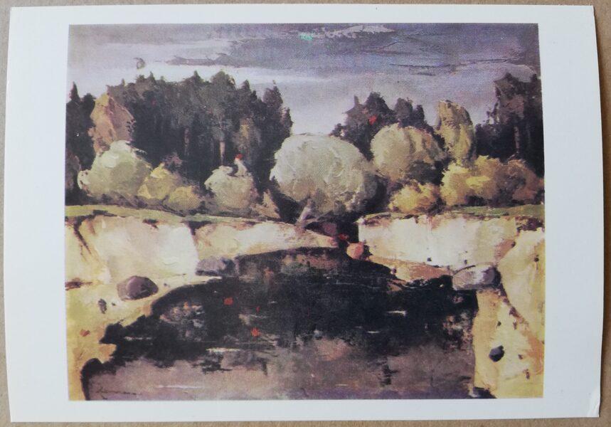 """Valdis Kalnroze """"Autumn Landscape"""" art postcard 1986 15x10,5 cm"""
