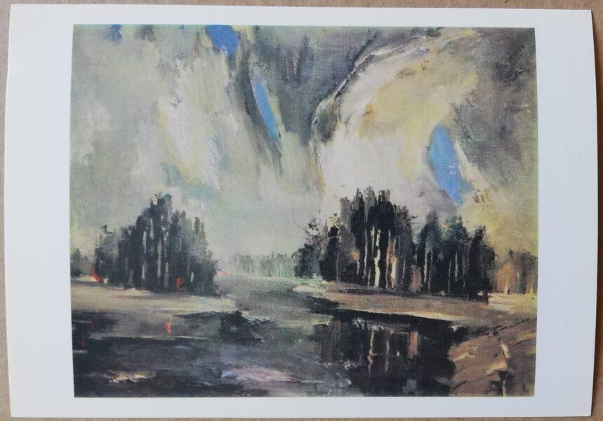 """Valdis Kalnroze """"River"""" art postcard 1986 15x10,5 cm"""