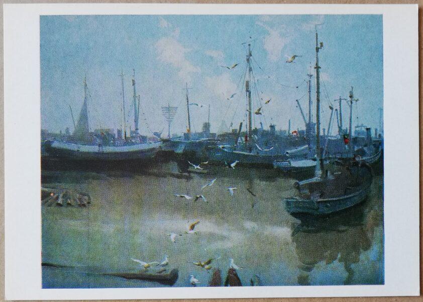 "Eduards Kalnins ""In the port"" art postcard 1983 15x10.5 cm"
