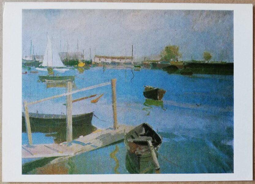 "Eduards Kalnins ""Landscape with Boats"" art postcard 1983 15x10.5 cm"
