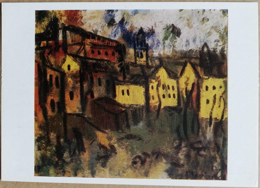 """Augustinas Savickas """"Viļņa romantiska"""" 1977. gada mākslas pastkarte 15 * 10,5 cm"""