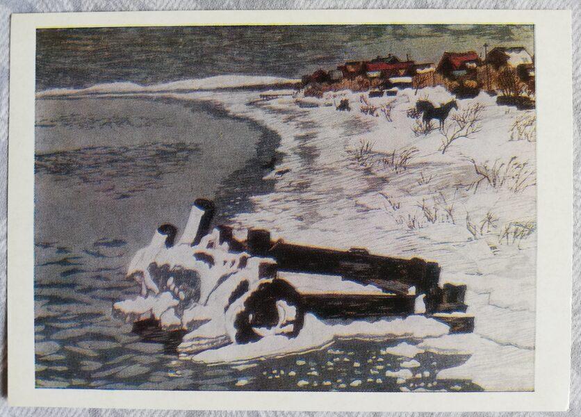 """Fumio Kitaoka 1974. gads """"Ziemas ezers; 1969"""" mākslas pastkarte 15x10,5 cm"""