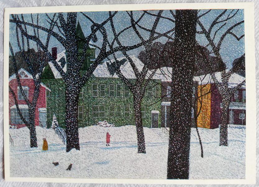 """Fumio Kitaoka 1974. gads """"Ziemas amerikāņu ainava; 1966"""" mākslas pastkarte 15x10,5 cm"""
