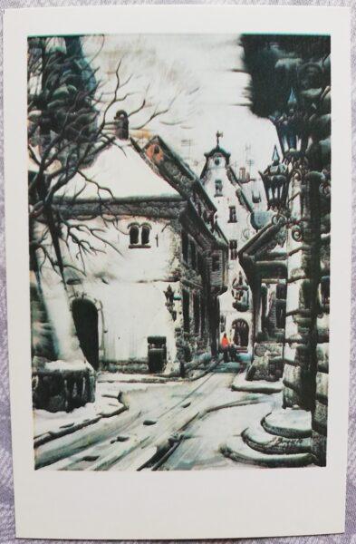 """Jānis Brekte """"Ziema Vecrīgā"""" 1981. gada mākslas atklātne 9x14 cm"""