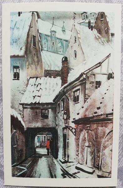 """Jānis Brekte """"Vecrīgas studija"""" 1981. gada mākslas pastkarte 9x14 cm"""