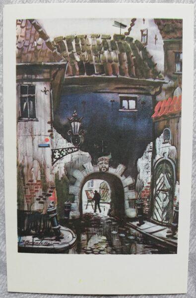 """Jānis Brekte """"Zviedru vārti"""" 1981. gada mākslas pastkarte 9x14 cm"""