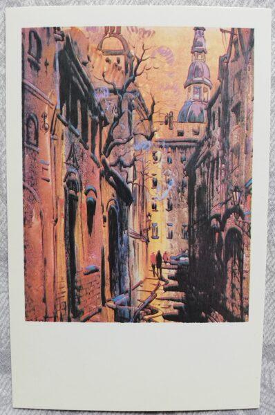 """Jānis Brekte """"Gaismas spēle"""" 1981. gada mākslas atklātne 9x14 cm"""