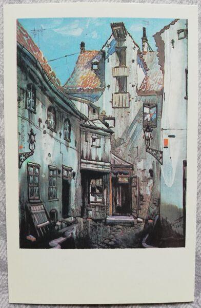 "Janis Brekte ""Aldaru Street"" 1981 art postcard 9x14 cm"
