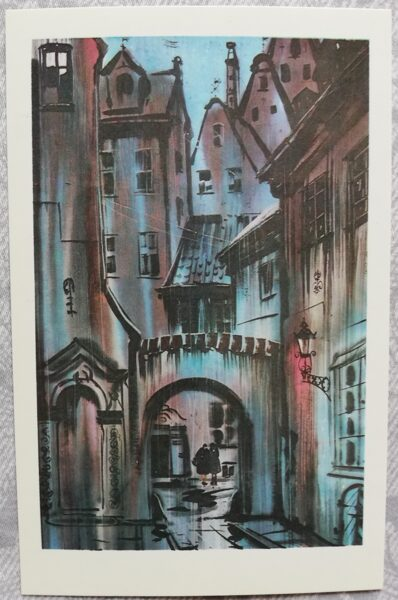 "Janis Brekte ""Blue Mood"" 1981 art postcard 9x14 cm"