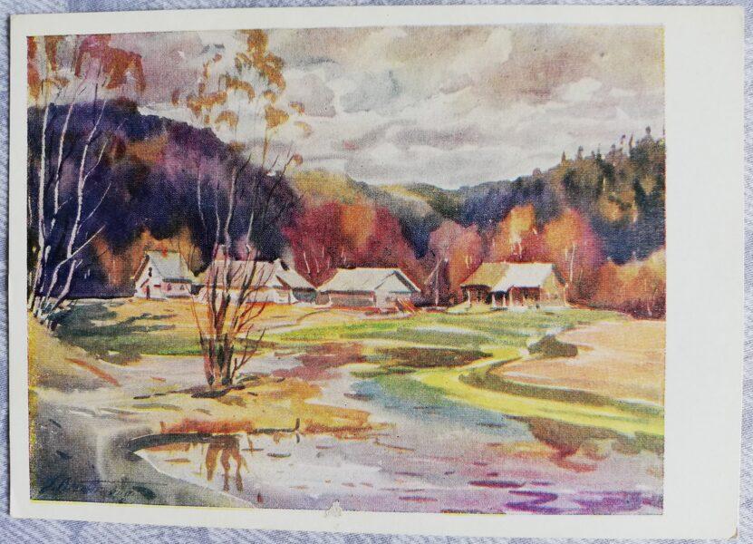 "Janis Brekte ""Spring in Sigulda"" 1961 art postcard 15x10.5 cm"