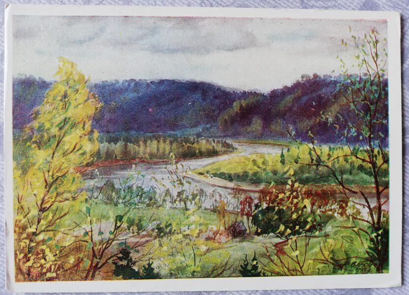 "Janis Brekte ""Valley of the Gauja River"" 1955 art postcard 15x10.5 cm"