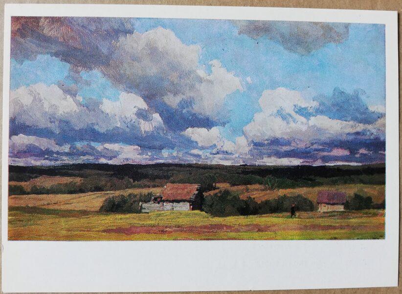 """Aleksejs Gricajs 1986 """"Oktobra sākums Gluhhovkas ciematā"""" mākslas atklātne 15x10,5 cm"""