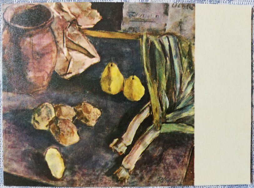 """Rita Valnere """"Klusā daba"""" mākslas atklātne 1968. gadā 15x10,5 cm"""
