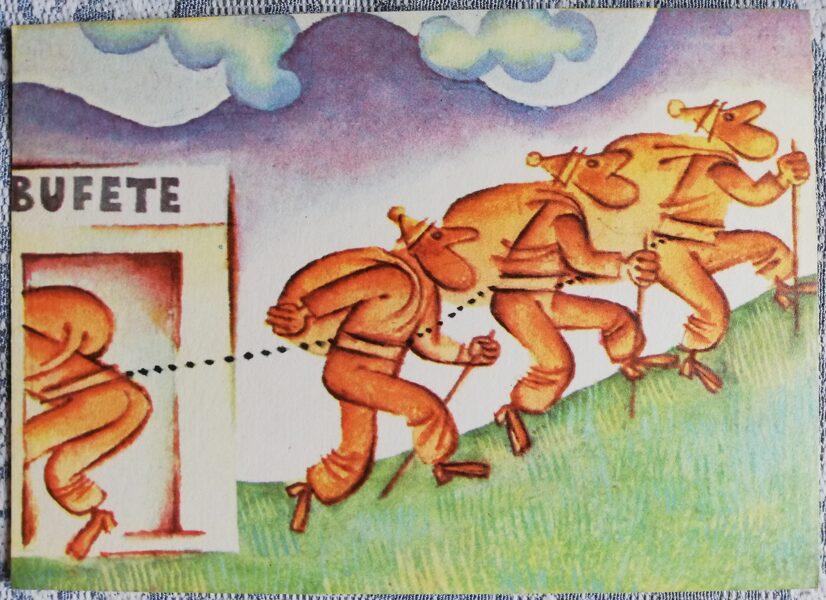 """Humoristiska PSRS pastkarte """"Bufete - zemes pievilcība"""" 1972 14x10 cm Liesma Mākslinieks Mežavilks"""