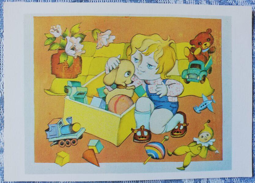 """Bērnu pastkarte """"Sunītis kabatā"""". 1978. gads 15x10,5 cm Liesma"""