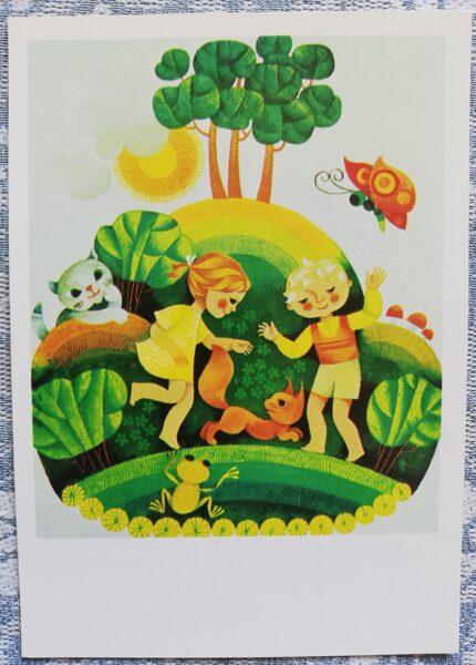 """Pastkarte bērniem """"Tā atsoļo rīts"""" 1977 10,5x15 cm Liesma"""