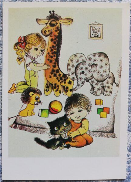 """Pastkarte bērniem J. Baltvilks """"Meža malas zaļais knauķis"""" 1979. gads 10,5x15 cm Liesma"""