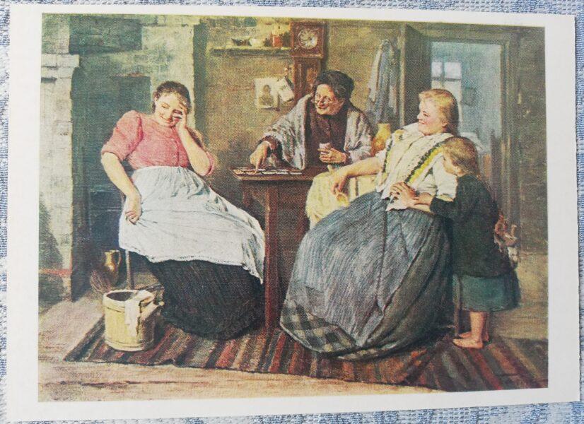 "Peteris Balodis ""Fortune telling on cards"" art postcard 1985 10,5x15 cm USSR"