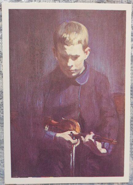 """Janis Rozentāls """"Vijolnieka R. Mikelsona portrets"""" (mazais vijolnieks) mākslas atklātne 1991 10,5x15 cm"""
