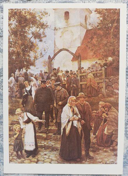 """Janis Rozentāls """"No baznīcas"""" (pēc dievkalpojuma) mākslas atklātne 1991 10,5x15 cm"""