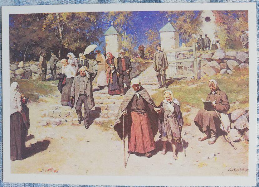 """Janis Rozentāls mākslas atklātne """"No kapsētas"""" 1991 15x10,5 cm"""