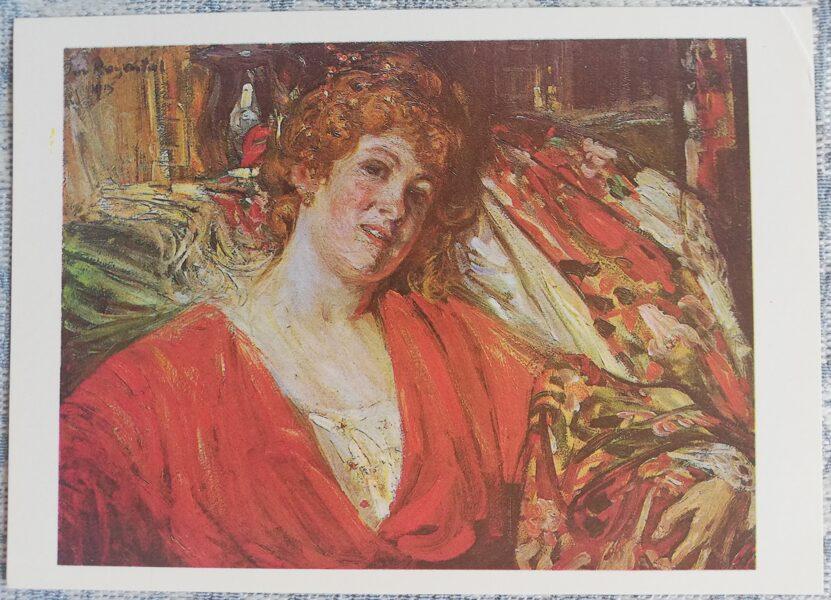 """Janis Rozentāls """"Sieviete sarkanā"""" mākslas atklātne 1991 15x10,5 cm"""
