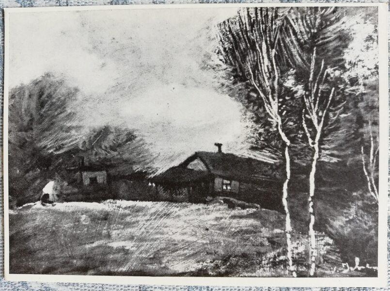 Postcard 1968 Village, artist Voldemar Irbe 14.5x10.5 cm
