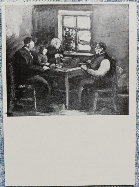 Postcard 1968 At the table, artist Voldemar Irbe 10.5x14.5 cm