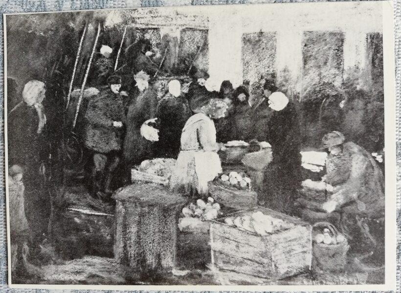 Postcard 1968 On the market, artist Voldemar Irbe 10.5x14.5 cm