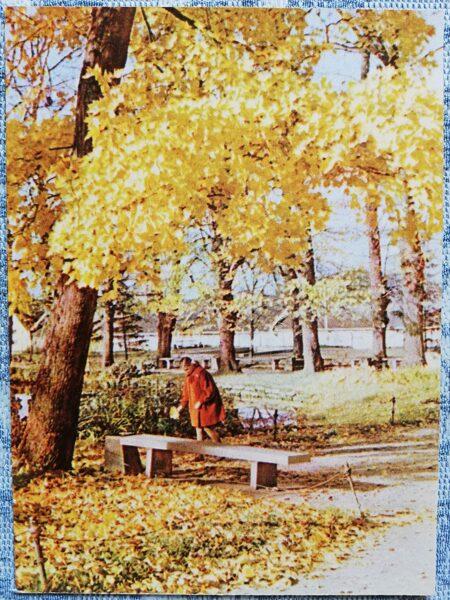 Cesis 1965 Park in autumn 10x14 cm postcard
