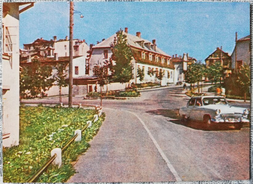 Cesis 1965 Rigas Street 14x10 cm postcard