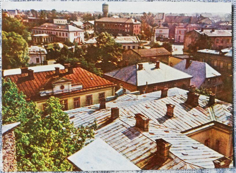 Cesis 1965 Bird's eye view 14x10 cm postcard