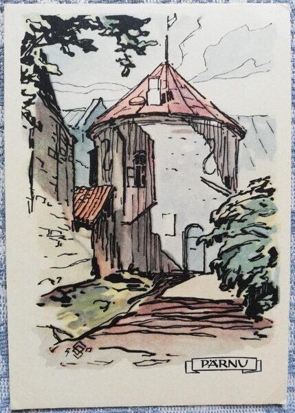 Postcard 1960 Red Tower Estonia, Parnu 10.5x15 cm