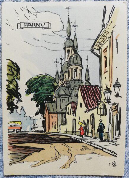 Postcard 1960 Vana Street Estonia, Parnu 10.5x15 cm